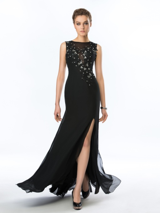 Beading Appliques Floor Length Evening Dress