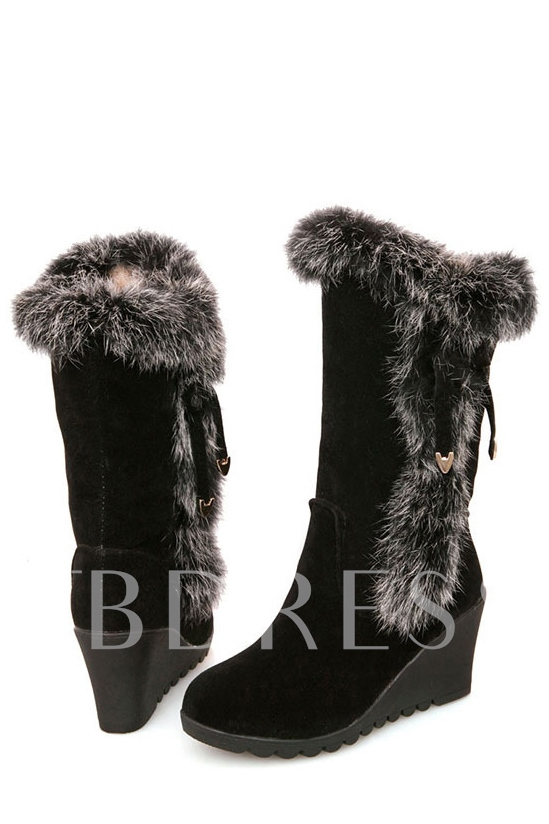 Short Floss Bowknot Wedge Heel Snow Boots
