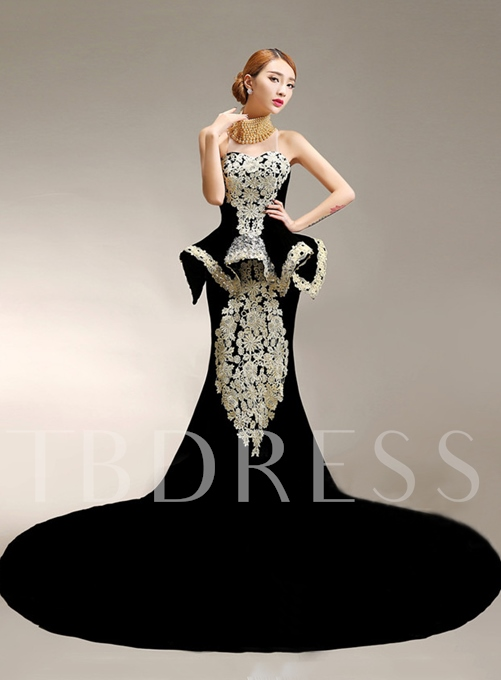 Mermaid Velvet High-Neck Appliques Pearls Sweep Train Evening Dress