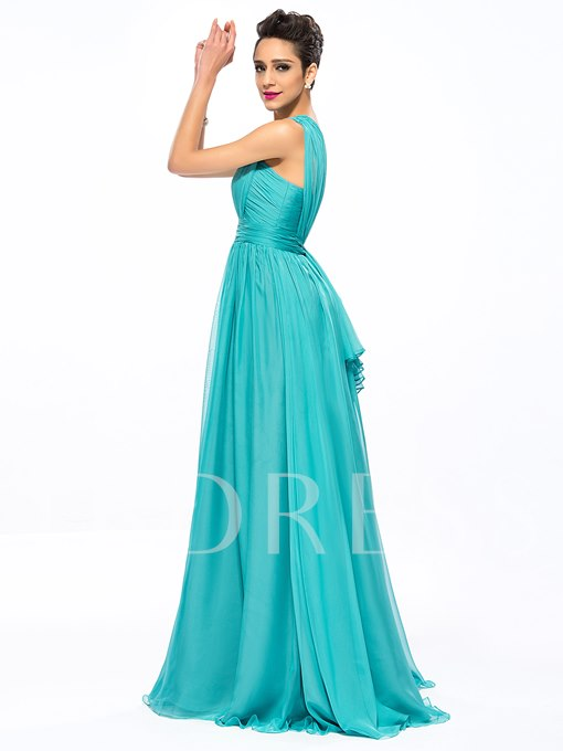 A-Line One-Shoulder Empire Ruched Prom Dress