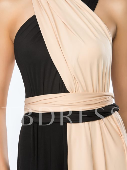 Convertible Contrast Color Straps Ruffles Evening Dress