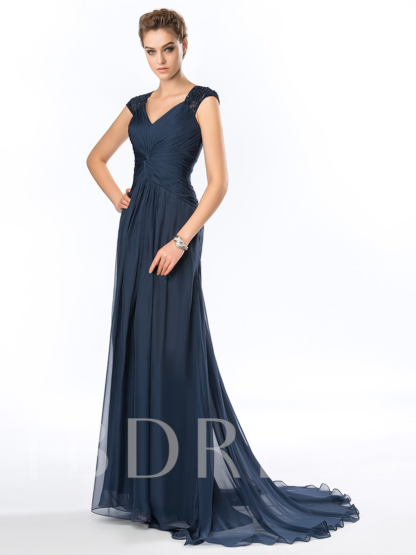 V-Neck Cap Sleeve Ruched Chiffon Long Evening Gown
