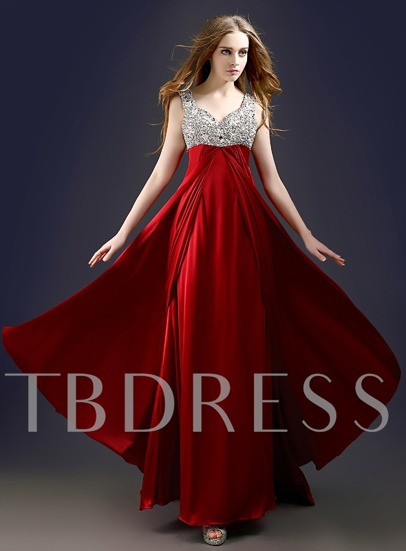 Ruched A-Line Straps Rhinestone Floor-Length Evening Dress