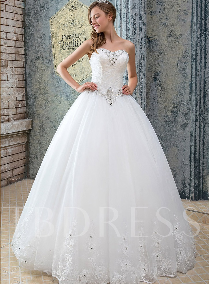 Strapless Appliques Beading Lace-Up Wedding Dress