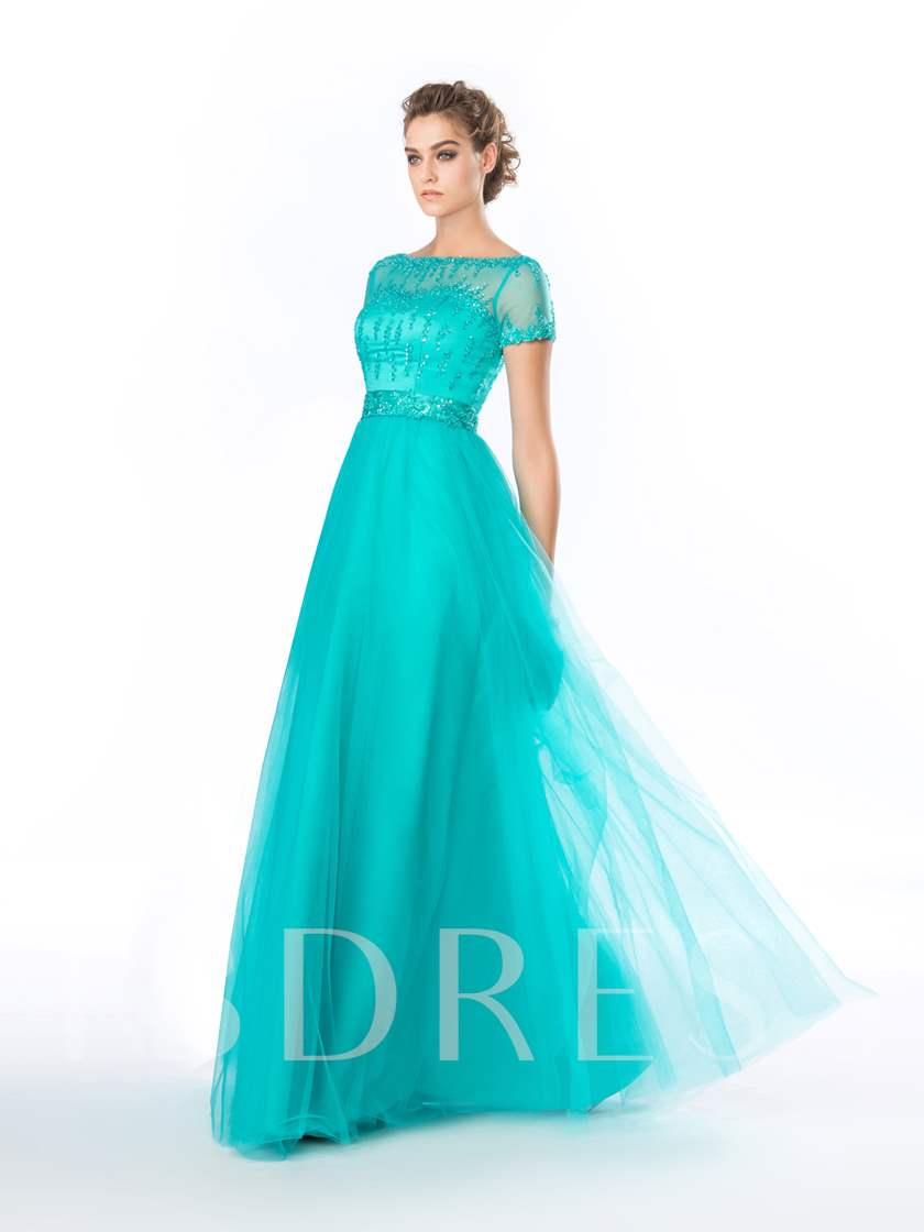 A-Line Bateau Beading Short Sleeves Evening Dress