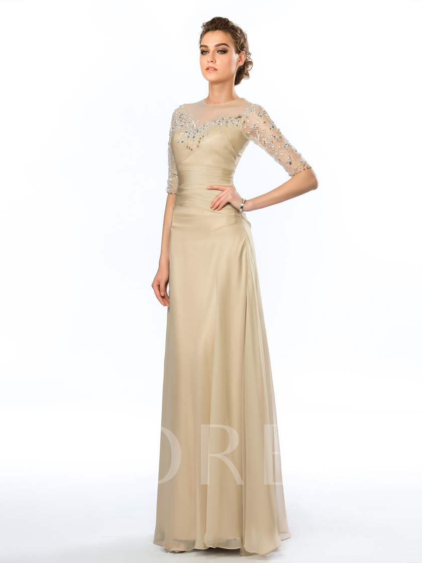 Jewel Neck Appliques Beading Half Sleeves Column Evening Dress