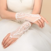 Beaded Appliques Fingerless Ivory Wedding Gloves