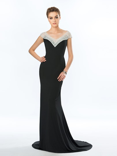 Mermaid V-Neck Beadings Evening Dress