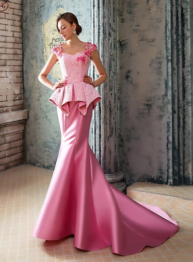 Mermaid Lace Appliques Court Train Long Evening Dress