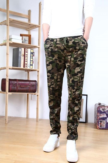 Mid-Waist Straight-Leg Men's Camouflage Pants