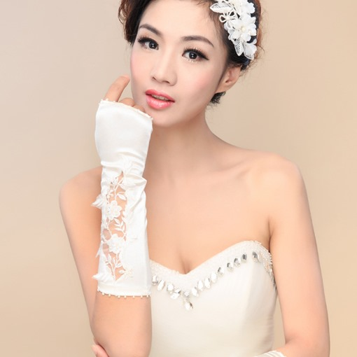 Beaded Appliques Fingerless Long Wedding Gloves