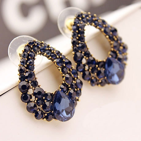 Dark Blue Rhinestone Earrings