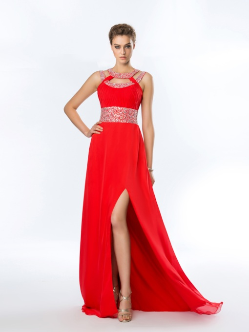 A-Line Split-Front Jewel Neck Beading Floor-Length Prom Dress