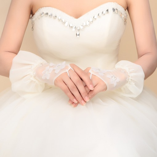 Beaded Hand-made Flowers Fingerless Ivory Bride Gloves