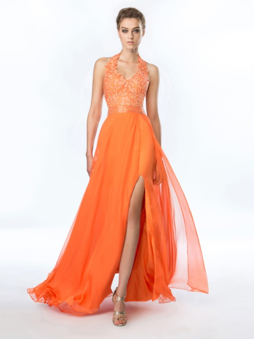 Halter Split-Front Appliques Beading Evening Dress