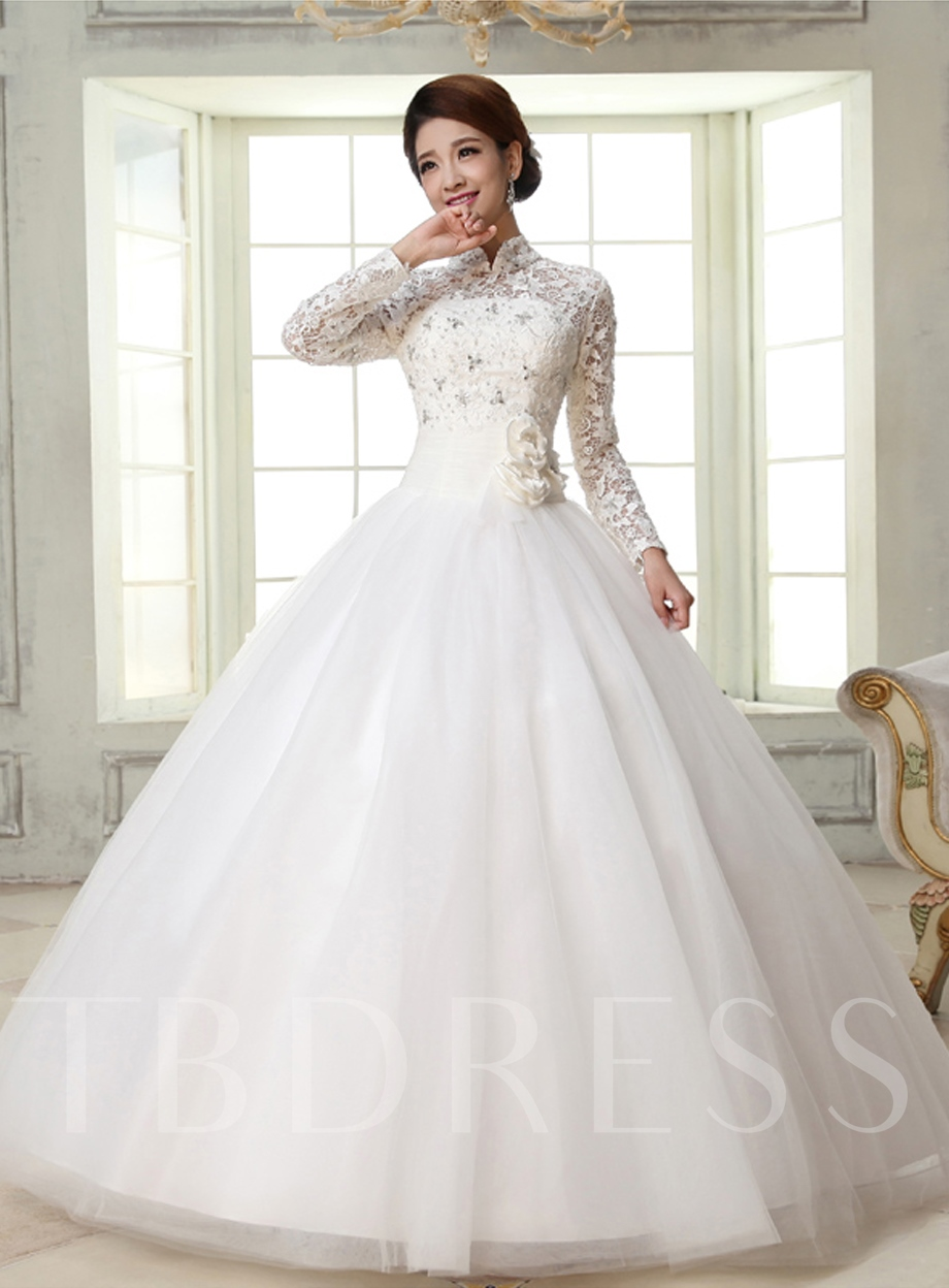 Image of Ball Gown High-Neck Long Sleeves Lace Wedding Dress