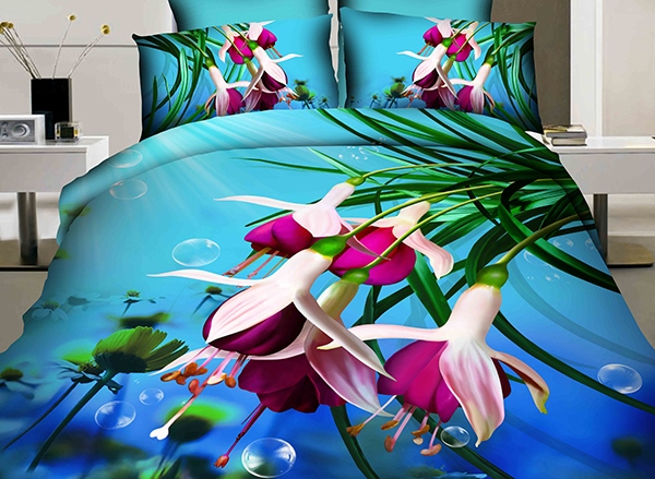 Purple Fuchsia Printed Cotton 4-Piece 3D Blue Bedding Sets/Duvet Cover