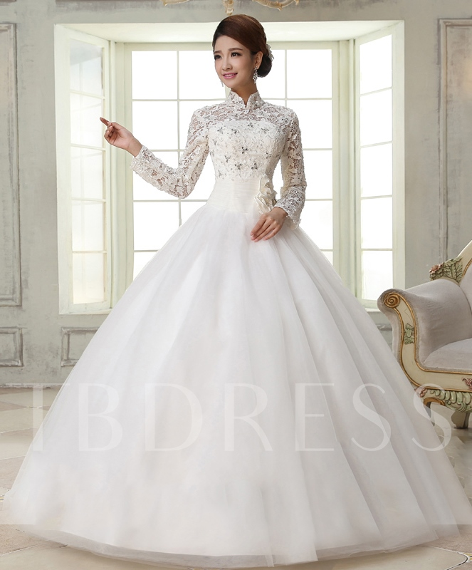 Wedding Gown With Lace: Ball Gown High-Neck Long Sleeves Lace Wedding Dress