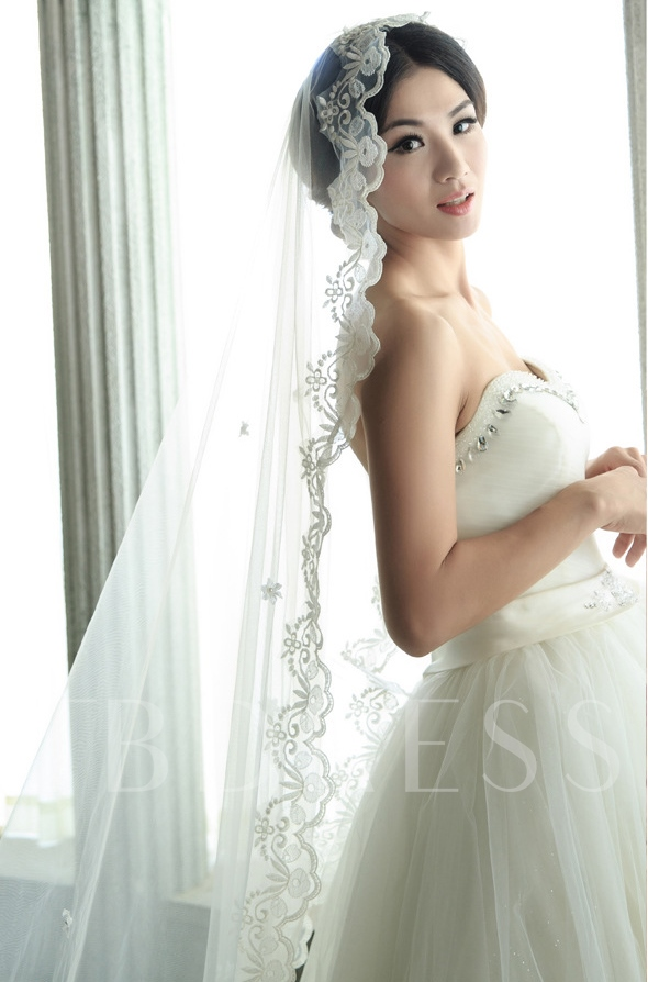 Appliques Edge Chapel Wedding Veil