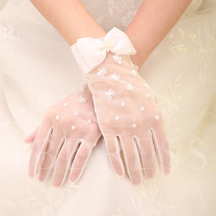 Beaded Bowknot Ivory Wedding Gloves
