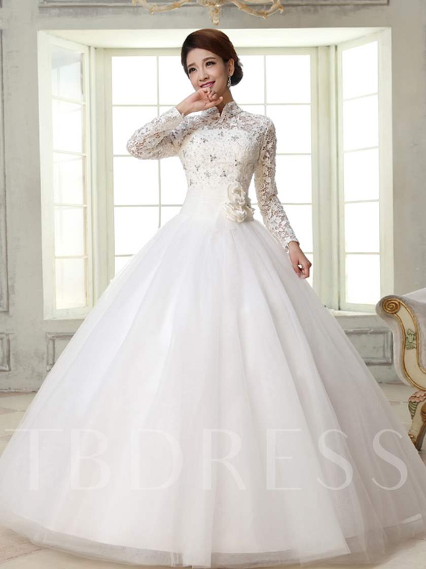 Ball Gown High-Neck Long Sleeves Lace Wedding Dress