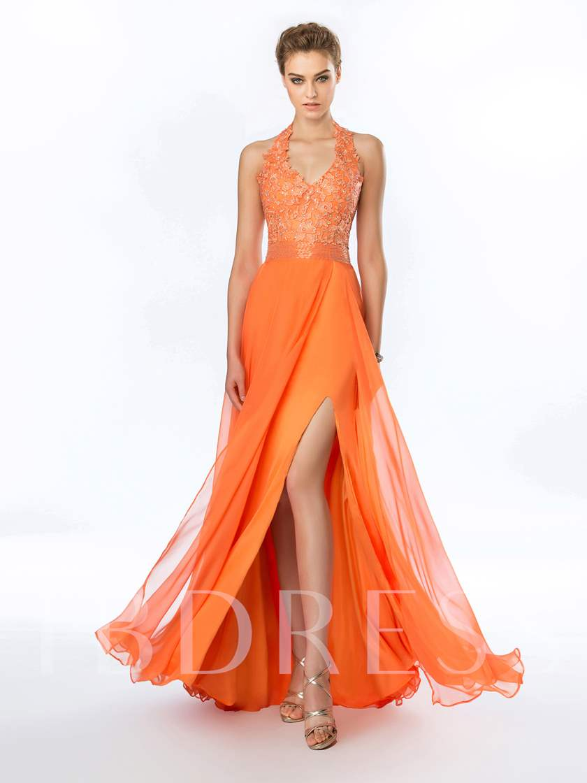 Halter A-Line Appliques Beadings Split-Front Evening Dress