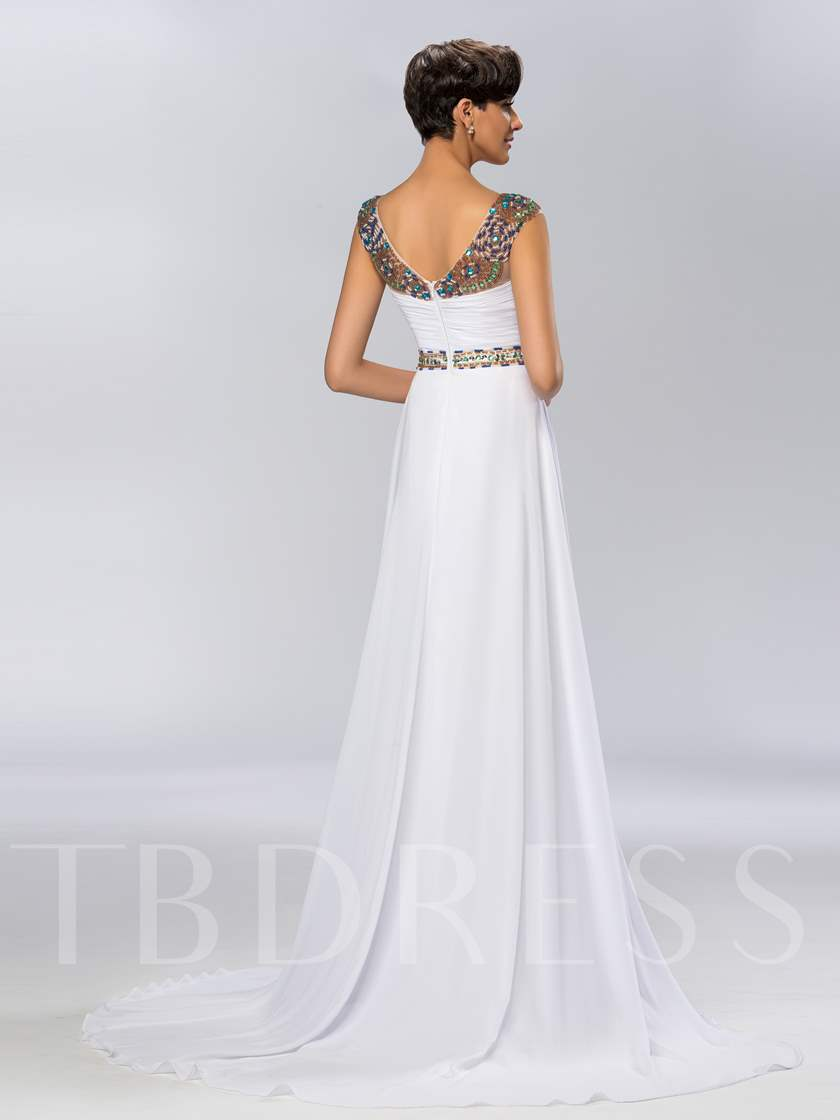 A-Line Bateau Beaded Tulle Evening Dress