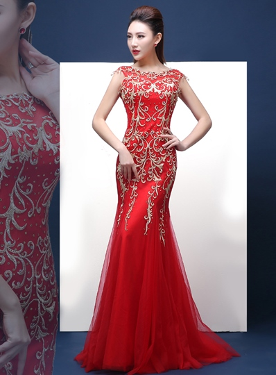 Mermaid Beadings Bateau Lace Sweep Train Evening Dress
