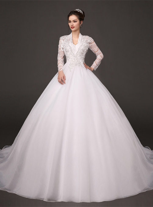 A-Line Pearls Long Sleeves Zipper-Up Court Train Wedding Dress