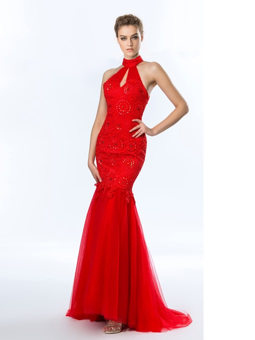 Appliques Beadings Halter Mermaid Evening Dress