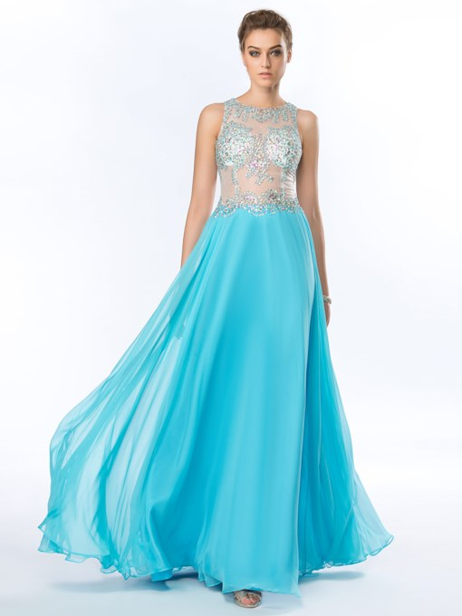 Beading Sequins A-Line Chiffon Floor Length Prom Dress