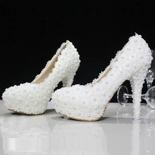 Lace Rhinestone Bead Round Toe Stiletto Heel Women's Wedding Shoes