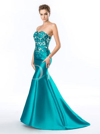 Sweetheart Strapless Appliques Beadings Mermaid Evening Dress