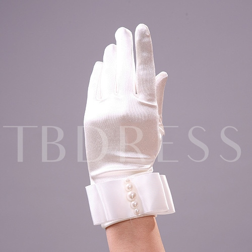 Comfortable Silk Pearl Wedding Gloves