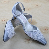 Appliques Point Toe Ankle Strap Low Heel Wedding Shoes
