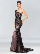 One-Shoulder Lace Sequins Sweep Train Sheath Evening Dress