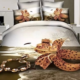 Tiger Lily and Bracelet Printed Cotton 4-Piece 3D Bedding Sets/Duvet Covers