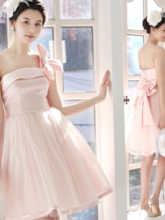 A-Line One-Shoulder Bowknot Bridesmaid Dress