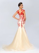 Mermaid Jewel Neckline Appliques Evening Dress
