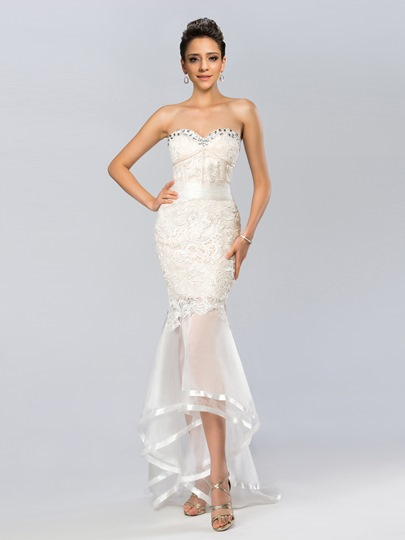 Sweetheart Lace Asymmetrical Mermaid Evening Dress