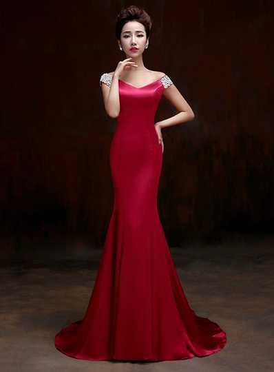 Mermaid V-Neck Pearls Beadings Court Train Evening Dress