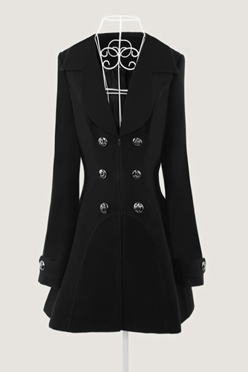 Black Shawl Collar Double-Breasted Women's Overcoat