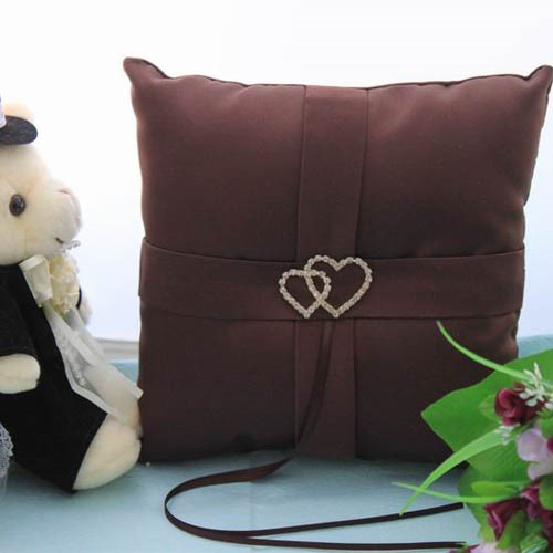 -looking Wedding Ring Pillow In Satin With Loving Hearts