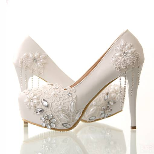 34b0e882d41 Lace Beading Stiletto Heels Wedding Shoes