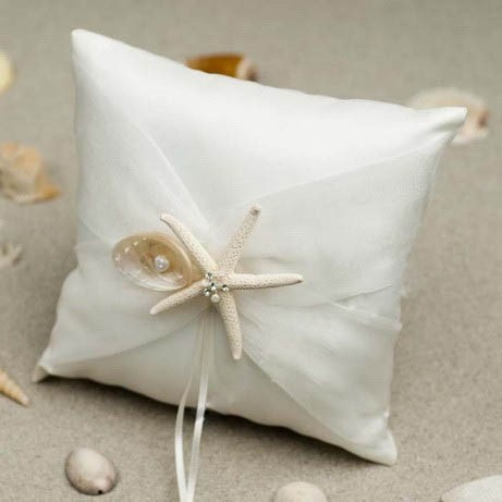 Beach Themed Ring Pillow With Starfish and Seashell