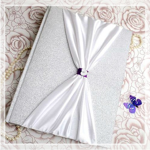 Violet Tale Wedding Guest Book with Bowtie
