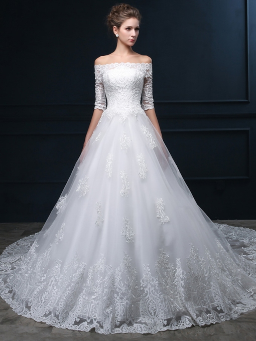 Off-The-Shoulder Half Sleeves Lace-Up Wedding Dress