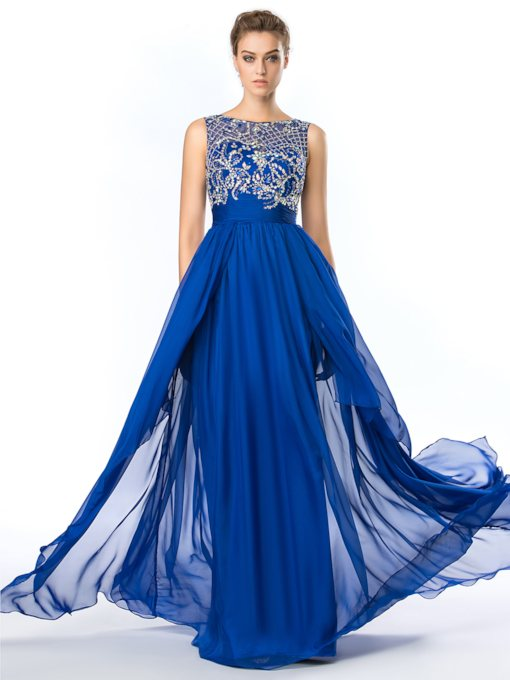 Straps Beading Dark Royal Blue Prom Dress
