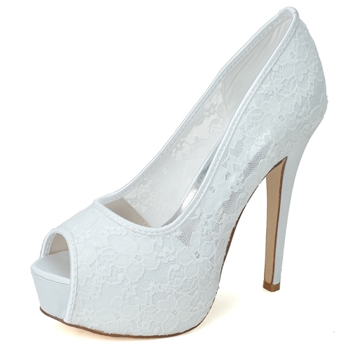 Lace Stiletto Heel Peep toe Wedding Shoes