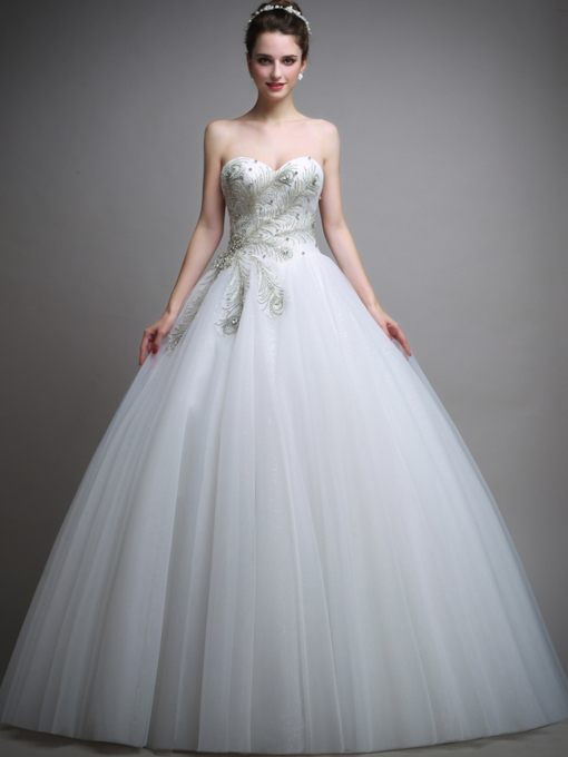 Sweetheart Lace Up Beading Ball Gown Wedding Dress